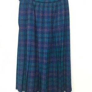 Pendleton 100% Wool Knife Pleated Skirt Blue 12